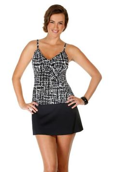 Caribbean Joe Women's Swimwear Diagonal Ruffle Tankini Top. Color black and white checkers print. This swim suit top has padded cups and a shelf bra. Mix and match bathing suits. Each piece is sold separately. Style # 861190. Caribbean Joe Women's Swimwear Diagonal Ruffle Tankini Top.