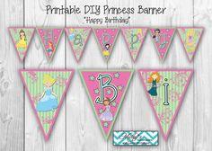Princess Pennant Banner Printable DIY Download MellysHandmades on Etsy