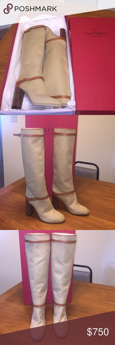 VALENTINO BOOTS! NWT. Gorgeous! MSRP $1395 Brand new. Size 37. Block heel. Fabric and leather adjustable straps. True to size. Just beautiful. Box included. No Dustbags. Am open to reasonable offers. Great leather smell. 100% Authentic. Valentino Shoes Over the Knee Boots