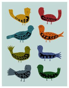 Eight Little Birds by elsita #Illustration #Birds #elsita