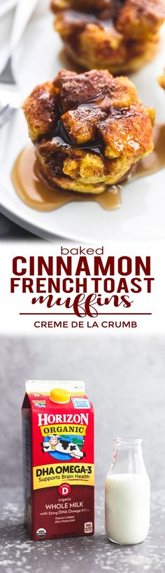 Baked Cinnamon French Toast Muffins are quick, delicious, and fun for the whole family with a cinnamon sugar topping and easily frozen for on-the-go breakfasts! | lecremedelacrumb.com #horizonorganic @horizonorganic #ad