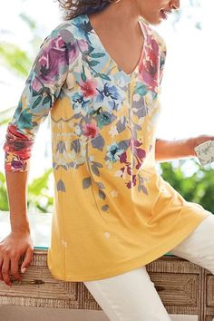 Style: Casual Sleeves: Long Sleeves Neck: Round Neck Material: Cotton Polyester Type: Loose Fit Pattern: Print Season: Fall Occasion: Daily life size Bust Shoulder Sleeve Length inch cm inch cm inch cm S 92 58 M 96 59 L 100 60 XL 104 Floral Print Shirt, Floral Prints, Printed Blouse, Blouse Jaune, Maxi Robes, Maxi Dresses, Midi Dress With Sleeves, Casual Sweaters, Casual Shirts