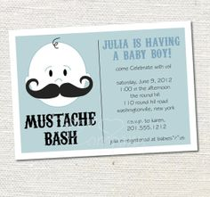 MUSTACHE BASH Boy Baby Shower Invitation Printable diy Customizable