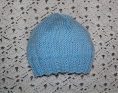 Newborn Baby Boy Hat Hand Knitted Powder by KnitAndCrochetCafe, $18.00
