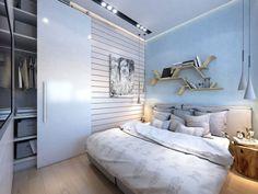 New Zweiraumwohnung inspirationen schlafzimmer einrichten mit wandfarbe Hellblau und eingebautem Kleiderschrank mit schiebet r
