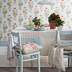 blue and white country table & chairs