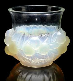 René Lalique  'Prunes' a Vase, design 1937  opalescent glass, frosted and polished   17.5cm high, etched 'R. Lalique France'