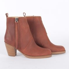 Acne Pistol ankle boots...I like the rosy undertone to these. It's a little more interesting than the typical browns and tans