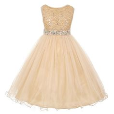A glamorous elegant fashion piece from My Best Kids just for your girl. The gold sleeveless dress features a top designed with stretch lace and decked with sparkle sequins. It has a detachable belt made with rhinestones leading to a crystal tulle stylish