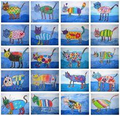 Work results from the art class - Schule Am Lindenberg - Art Education ideas Animal Art Projects, Easy Art Projects, Art Education Lessons, Art Lessons, Art For Kids, Crafts For Kids, Arts And Crafts, Classe D'art, Kindergarten Art Projects