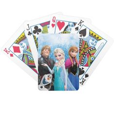 Frozen Character Group Picture - Poker Cards make great stocking stuffer gift ideas for the Disney Frozen fan in your life.  Click customize it to personalize them.