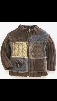 """Photo from album """"D-sp-Jackets with knitting needles (Jackets, cardigans, blouses with knitting needles)"""" on Yandex. Baby Knitting Patterns, Baby Boy Knitting, Knitting For Kids, Baby Cardigan, Cardigan Bebe, Knit Baby Sweaters, Boys Sweaters, Pull Bebe, Crochet For Boys"""