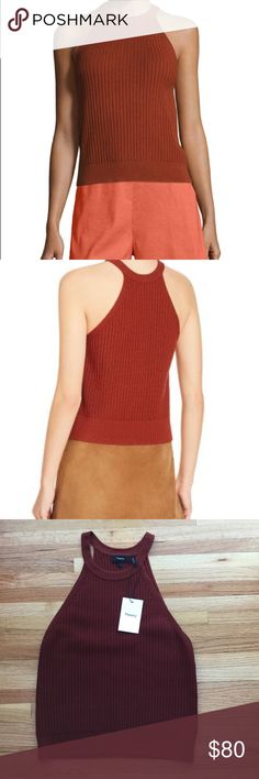 Theory Watson Prosecco Rib Knit Halter Top NWT Theory Watson Prosecco Rib Knit Halter Color: burnt paprika 85% viscose, 9% polyester, 6% spandex Size large *first two photos are not my own, they are to show style and fit New with tags Theory Tops