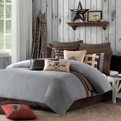 The Brownstone comforter set features a combination of grey flannel with a wool like feel, a rich chocolate brown faux suede to create a tailored yet cozy environment. Description from atlanticlinens.com. I searched for this on bing.com/images