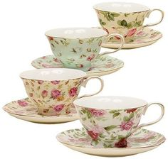 China Rose Chintz Porcelain Tea Cups Saucers Serving Kitchen Collection Set of 4