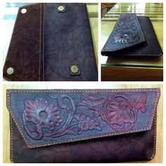 handmade leather clutch, tooled sheridan detail