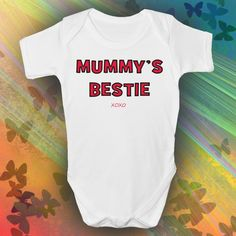 Mummy's Bestie Baby Grow, buy this today from Lulah Blu Clothing number one for printed baby grows online. Cool Funky baby grows newborn to 1 year old. Kids Christmas Pjs, Matching Family Pajamas, Cute Baby Gifts, Baby Grows, Personalized Baby, Besties, Cute Babies, New Baby Products, Best Friends