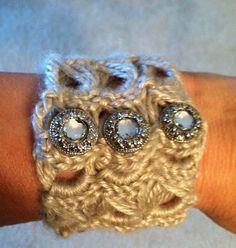 Broomstick Lace Crocheted Bracelet.