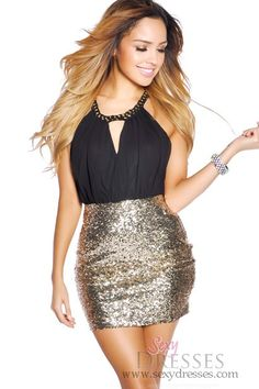Black+and+Gold+Sequin+Party+Dress+with+Chain+Neck+Wrap
