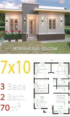 Guest House Plans, Sims House Plans, House Layout Plans, Small House Plans, Small House Layout, Four Bedroom House Plans, 3 Bedroom House, Modern Small House Design, Simple House Design