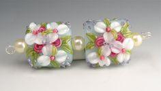 Blue and White Summertime Nuggets-Brilynn Beads-Handmade Lampwork Beads SRA