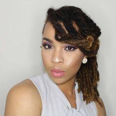 @queenl33 ・・・ #iamlocd #purple #gray #makeup #locs #locdQueen #positivity…