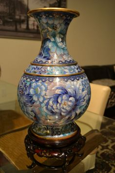 """Chinese Oriental Cloisonne Enamel Brass Large Vase12""""  With Wooden Stand"""