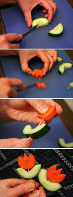 Veggie Flowers- easy to make and such a cute Spring snack for kids