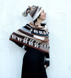 Sweet fantasy patchwork short sweater poncho and crazy hat. Made from recycled sweaters. Soft in touch. Comfortable and ecofriendly. Hippie boho gypsy style. One of a kind. Size: M-L (european 38-40) Shoulders - not more then 20 inches (50 cm) from top of shoulder to top of second shoulder. Length - 21 inches (53 cm) Hat - parimeter of head maximum 23 inches (60 cm) Hand wash in cool water - pure wool.