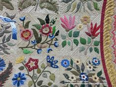 Once again, another amazing applique quilt from Sally. Her vision for these appliques and fabric choices are so nice, there are lots of . Caswell Quilt, Applique Quilt Patterns, Pin Cushions, Blanket, Sewing, Fabric, Beautiful, Patchwork Quilting, War