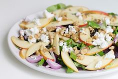 Roasted beet, apple and goat cheese salad with walnuts by @immigrantstable