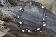 Multi- Strand Pearl Necklace - Pearl and Leather Necklace - Wrap Necklace - Multi -Strand Leather Necklace by Ginaspearls on Etsy