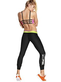 Victorias Secret PINK Ultimate Gym Pant Small Black Neon Yellow -- Be sure to check out this awesome product.