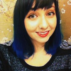 Midnight Blue Ombre! I used manic panic, after midnight blue over natural brown hair and bleached ends. :]