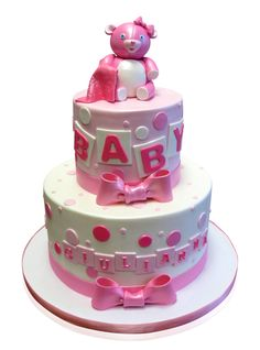 Pink Baby Shower Cake With Baby Blocks We love making cute baby shower cakes and this one was a delight! It was all things girlie in baby pink and white!  cmnycakes.com/gallery2/v/Cakes+For+All+Occasions/Pink+Baby+Shower+Cake+With+Baby+Blocks.html?