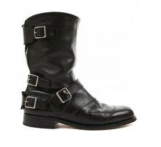 Balmain Multi-buckle Zippered Leather Boots. Fall Winter 2012-2013. Love the buckle across the back heel.