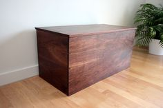 Dovetailed solid wood blanket chest in Black Walnut used for toys, storage, quilts, blankets, sweaters and more! Blanket Box, Blanket Chest, Walnut Uses, Trunks And Chests, Wood Chest, Hallway Decorating, Wood Furniture, Furniture Storage, Plexus Products