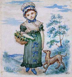 Child with Dog (Illustration Little Folks magazine),Kate Greenaway (1846 – 1901, English)-- I AM A CHILD