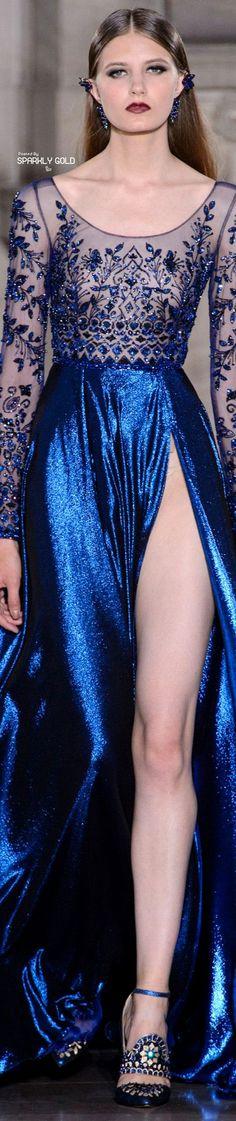 Georges Hobeika Fall 2017 Couture Haute Couture Gowns, Couture Fashion, Runway Fashion, Blue Fashion, Modern Fashion, Fashion Outfits, High Fashion, Blue Evening Dresses, Georges Hobeika