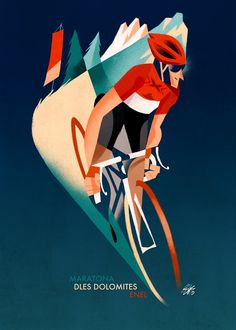 30 manifesti di Riccardo Guasco per la Maratona dles Dolomites Bicycle Illustration, Graphic Design Illustration, Illustration Art, Bicycle Art, Bicycle Design, Cruiser Bicycle, Retro Poster, Vintage Posters, Bike Poster