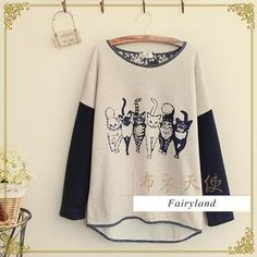 Buy 'Fairyland – Cat Print Contrast Sleeve Top' with Free International Shipping at YesStyle.com. Browse and shop for thousands of Asian fashion items from China and more!