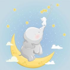The little elephant helps the bunny to catch stars Premium Vector Illustration Inspiration, Line Illustration, Pattern Illustration, Illustrations, Little Elephant, Elephant Art, Cute Elephant, Triangle Background, Background Patterns
