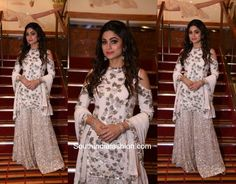 Shamita Shetty looked ravishing in a Manish Malhotra sharara at Adel & Sana's wedding.
