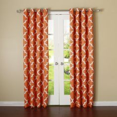 "Dining room    Amazon.com - Best Home Fashion Room Darkening Blackout Moroccan Print Curtains - Antique Bronze Grommet Top - Orange - 52""W x 84""L - (Set of 2 Panels) -"