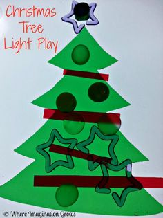 Light play Christmas activities for your light box or light table! Decorating Christmas trees with loose parts for preschoolers! Great holiday fine motor activity.
