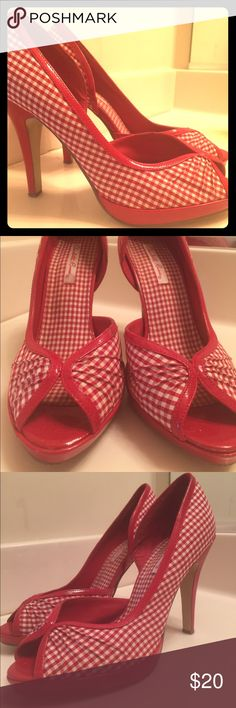 Red and White peep toe heels Excellent condition. Only worn maybe twice.... They were just too small for me Charlotte Russe Shoes Heels