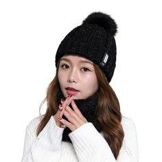 7f905870973792 Knitted Beanie Hat with Pom-pom & Infinity Scarf in Fleece - Black