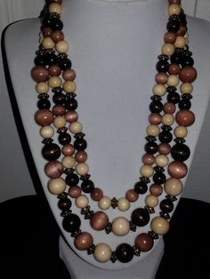 Brown black and tan triple stranded wood beaded by ILoveBeads247, $17.00