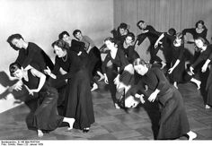 german dancer mary wigman (third from left) teaching a choreography class, 1959