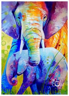 Elephants by TooMuchColor on DeviantArt Colorful Paintings, Cool Paintings, Elephant Artwork, Sea Life Art, Relaxing Art, Colorful Elephant, Popular Art, Painting Inspiration, Art Drawings